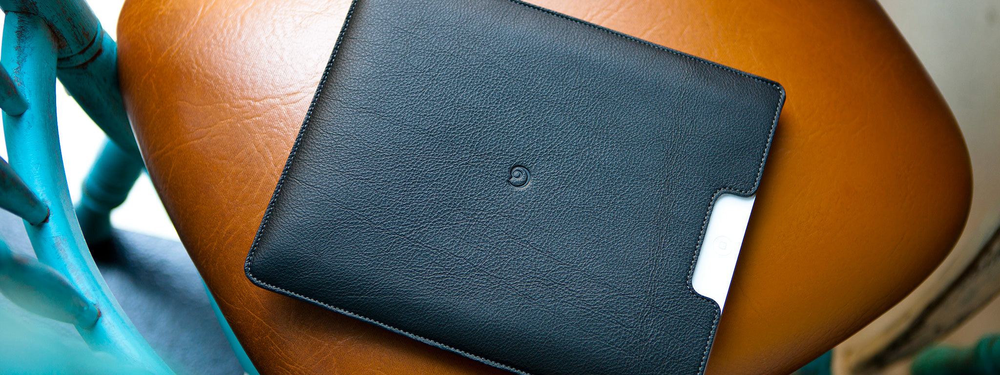Leather iPad sleeve in black
