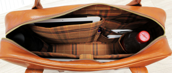 Interior of out leather messenger bag