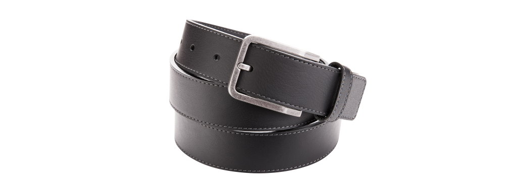 Leather belt black with stitching