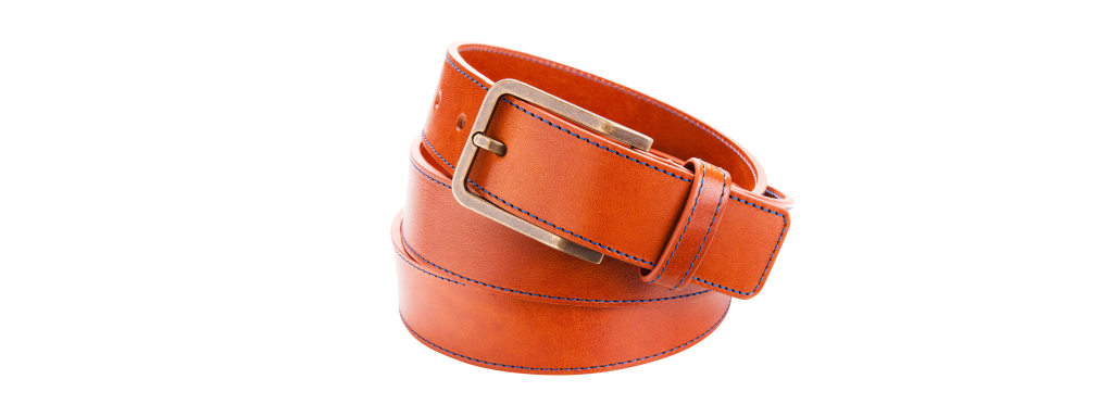 Leather belt brown with stitching