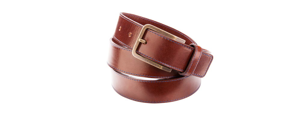 Leather belt dark brown with stitching