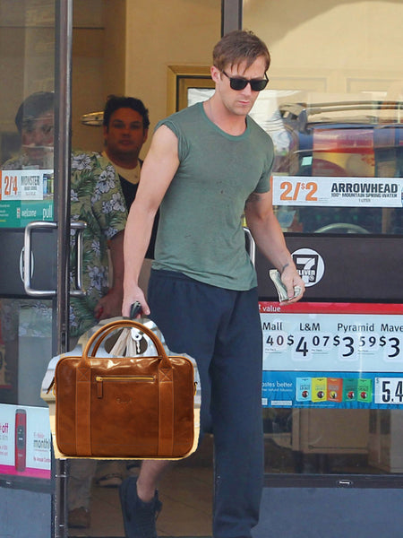 Ryan Gosling with leather messenger bag by Danny P.