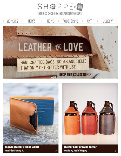 We were featured in the recent Shoppe (by Scoutmob) newsletter