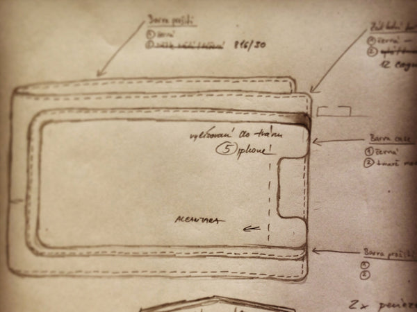 One of the first sketches of Danny P. leather wallet with iPhone 5 case