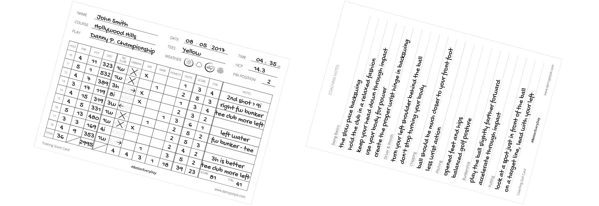 Training score card a Coaching golf card wireframe