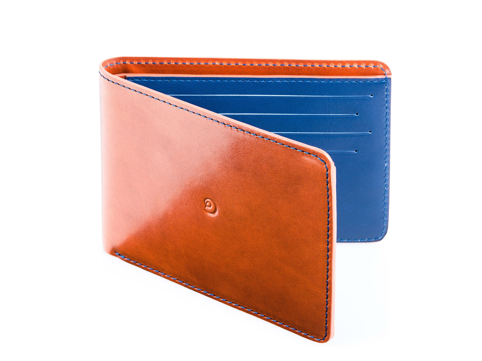 2ca18e361369 Slim leather wallet brown/blue
