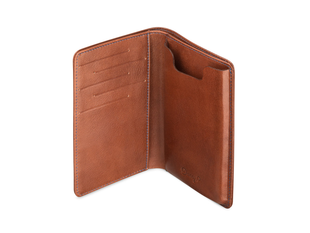 the best attitude e0634 3a13a Leather wallet with iPhone X/Xs case dark brown