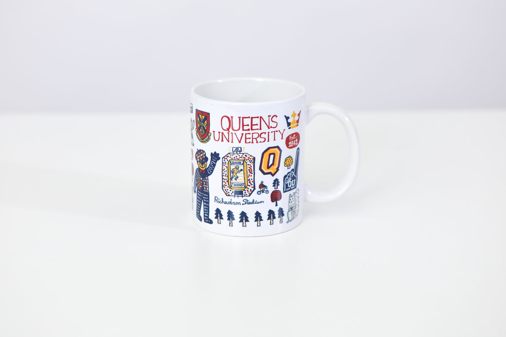 Front image of mug with various colourful symbols
