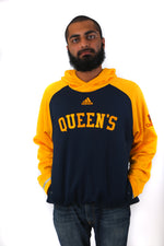 Front of navy and yellow Adidas hoodie with QUEEN'S on the front and a small Queens crest on one arm.