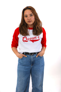 Red and white baseball style longsleeve with Queen's across the chest