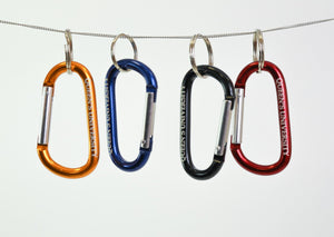 Carabiners in yellow, blue, black and red that feature Queen's University in white text