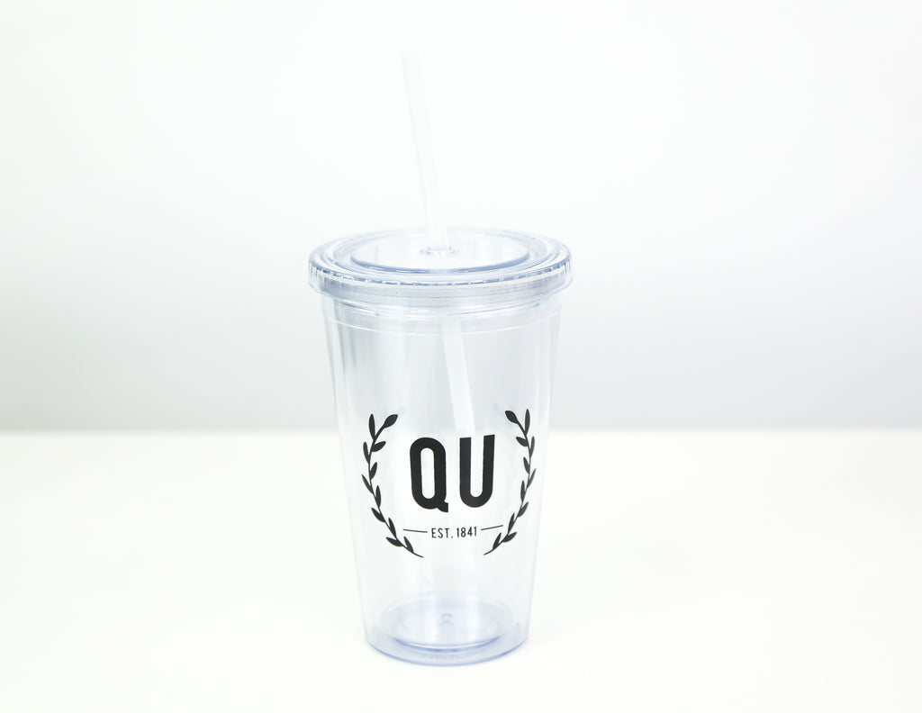 Clear plastic tumbler with QU on the front
