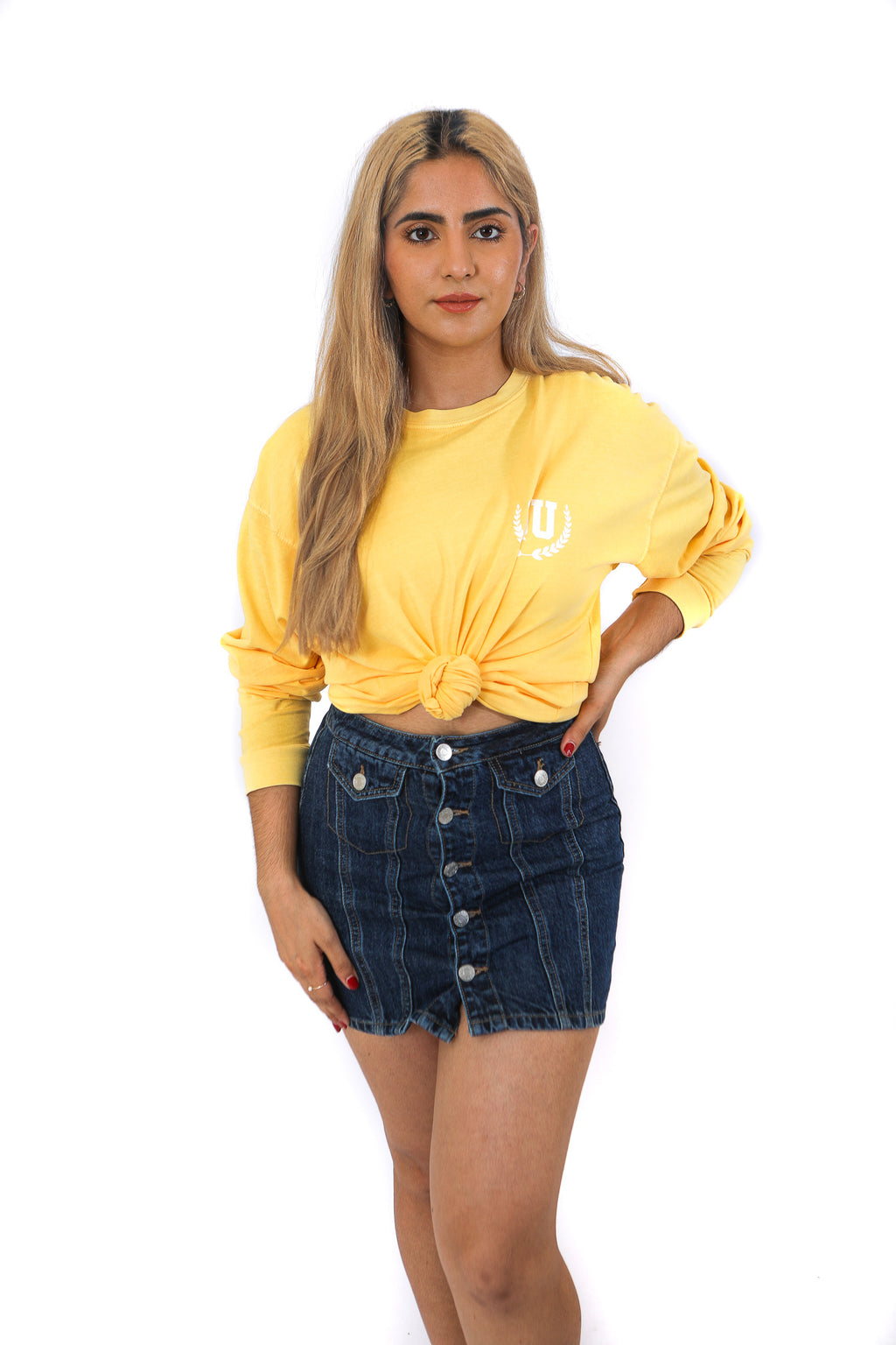Yellow long sleeve with a white QU