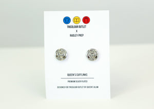 Silver plated cuff links featuring the Queen's Crest
