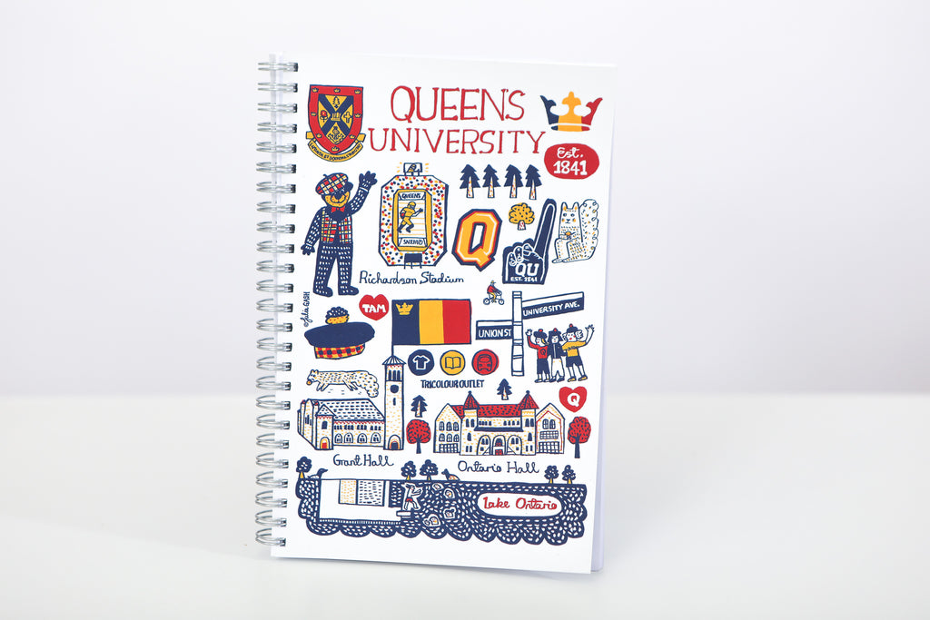 Front image of spiral notebook with various colourful symbols