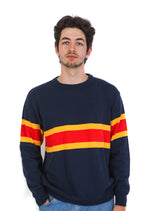 Front of navy knit sweater with two yellow stripes and one red stripe across the middle