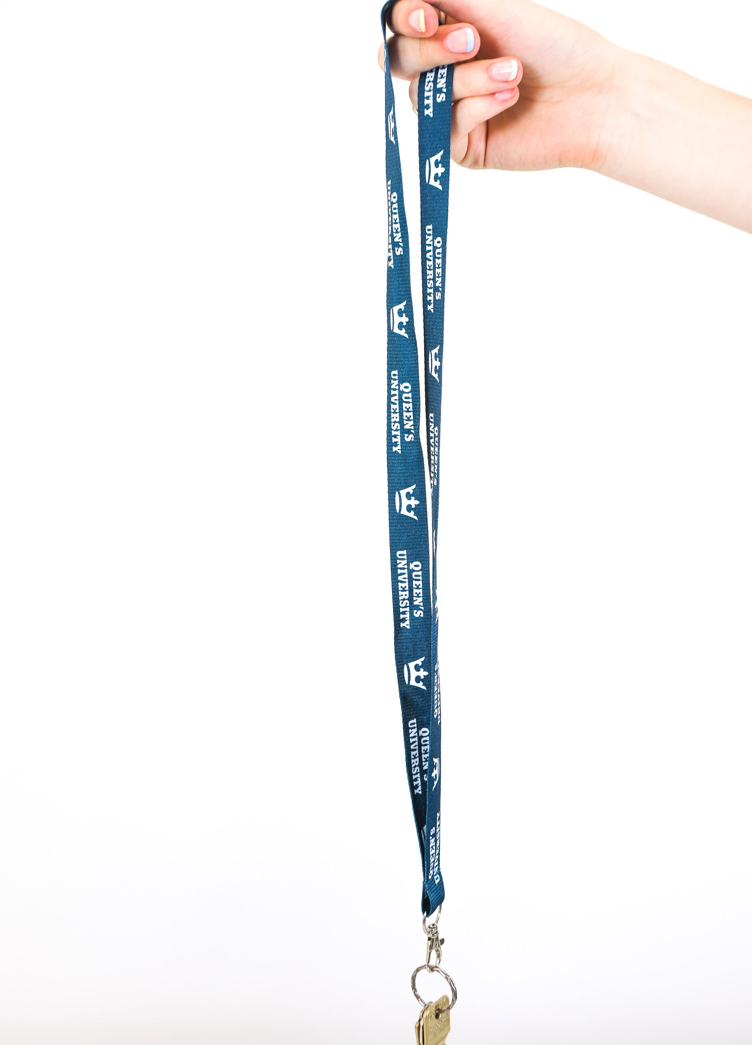 blue lanyard with queens university logos in white