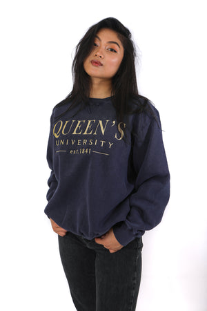 navy coloured crewneck with gold embroidered Queen's University