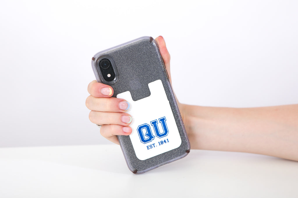 White adhesive phone wallet with QU in blue letters