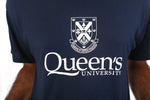 Close up of navy tshirt with white queens crest