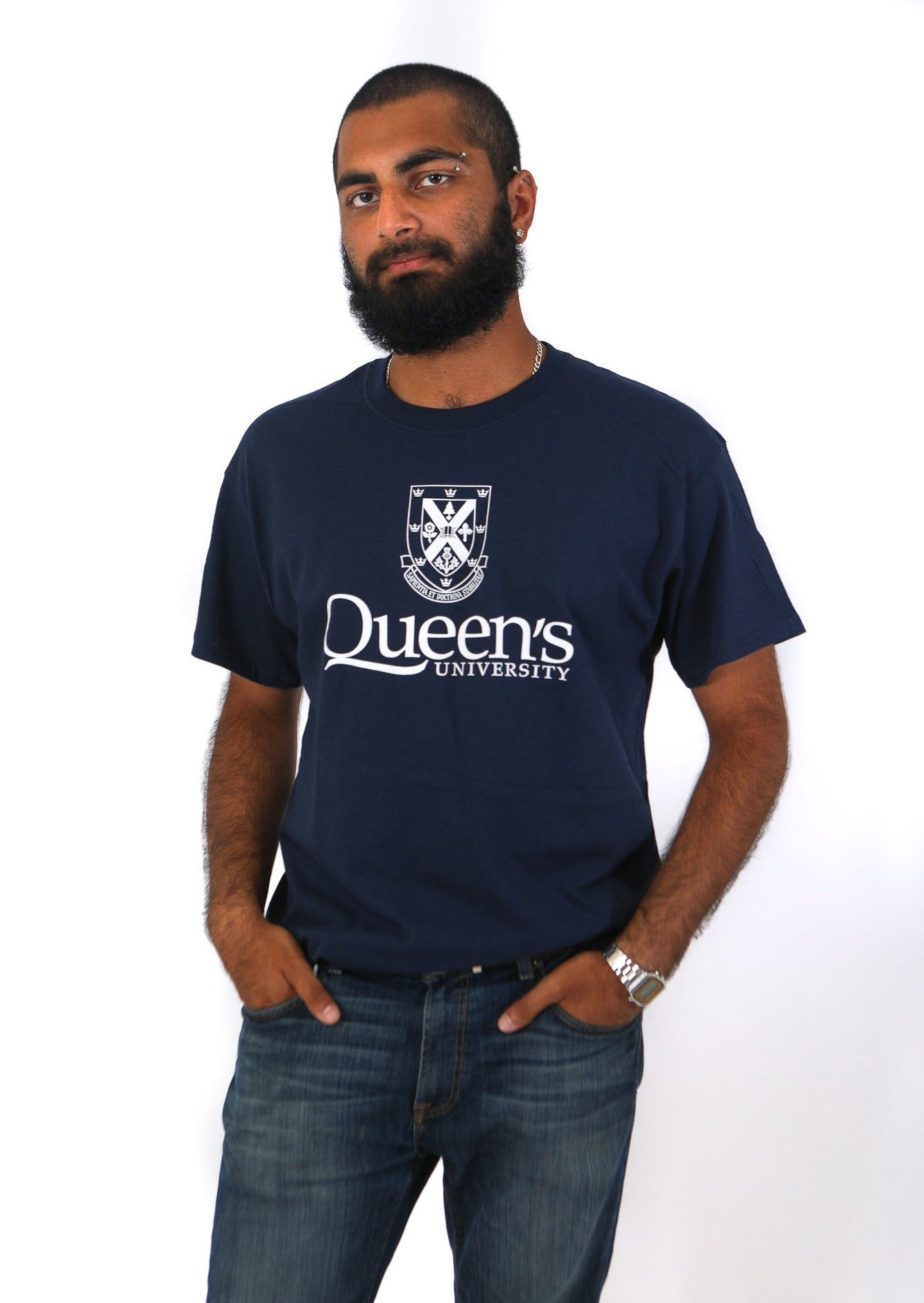 Navy tshirt with white queens crest
