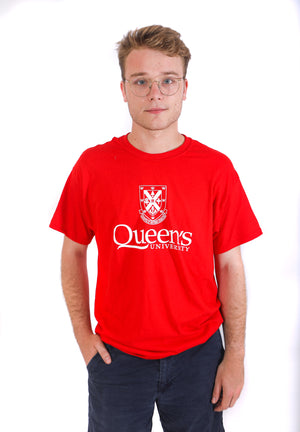 Red tshirt with white queens crest