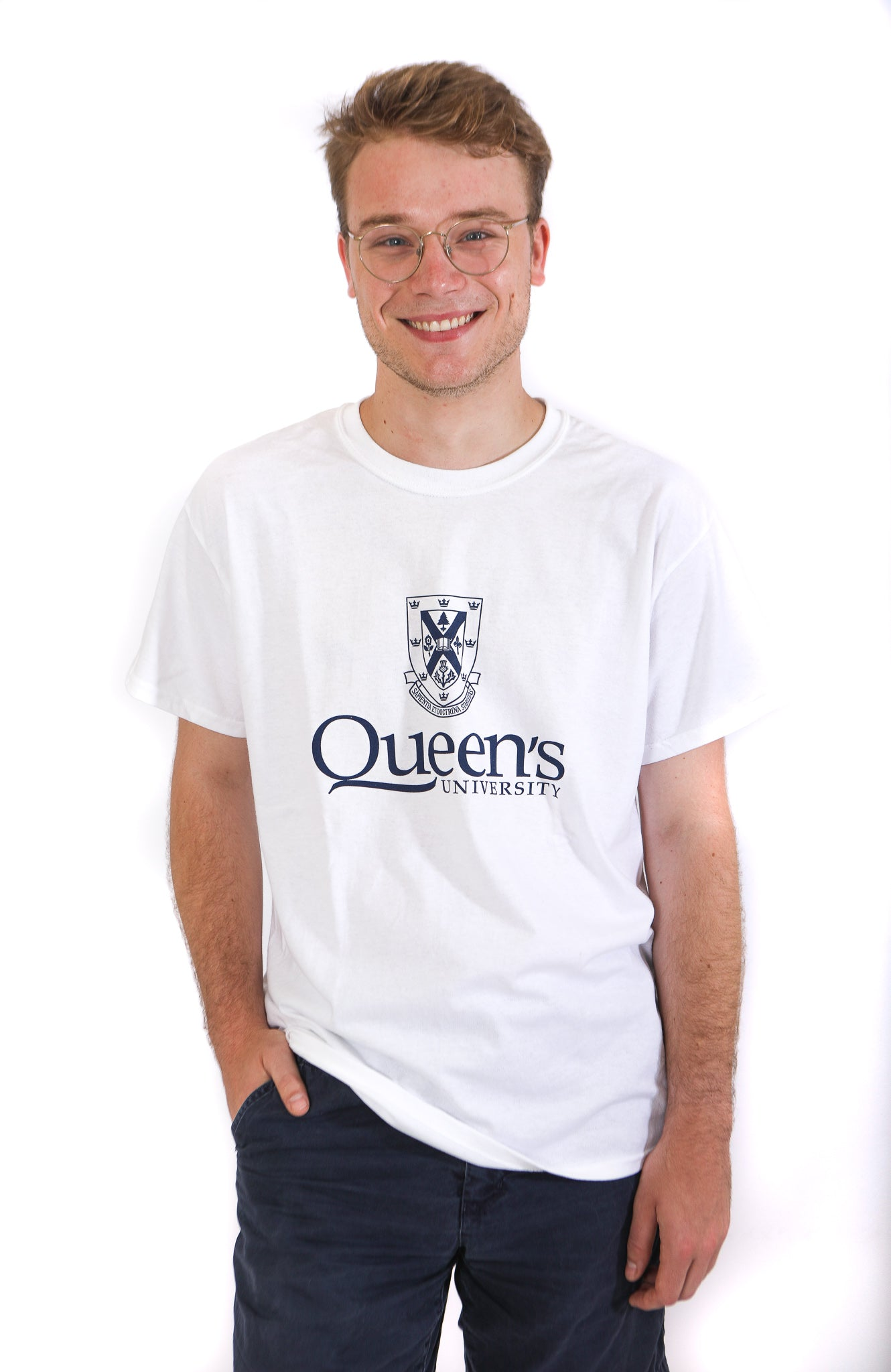 White tshirt with black queens crest