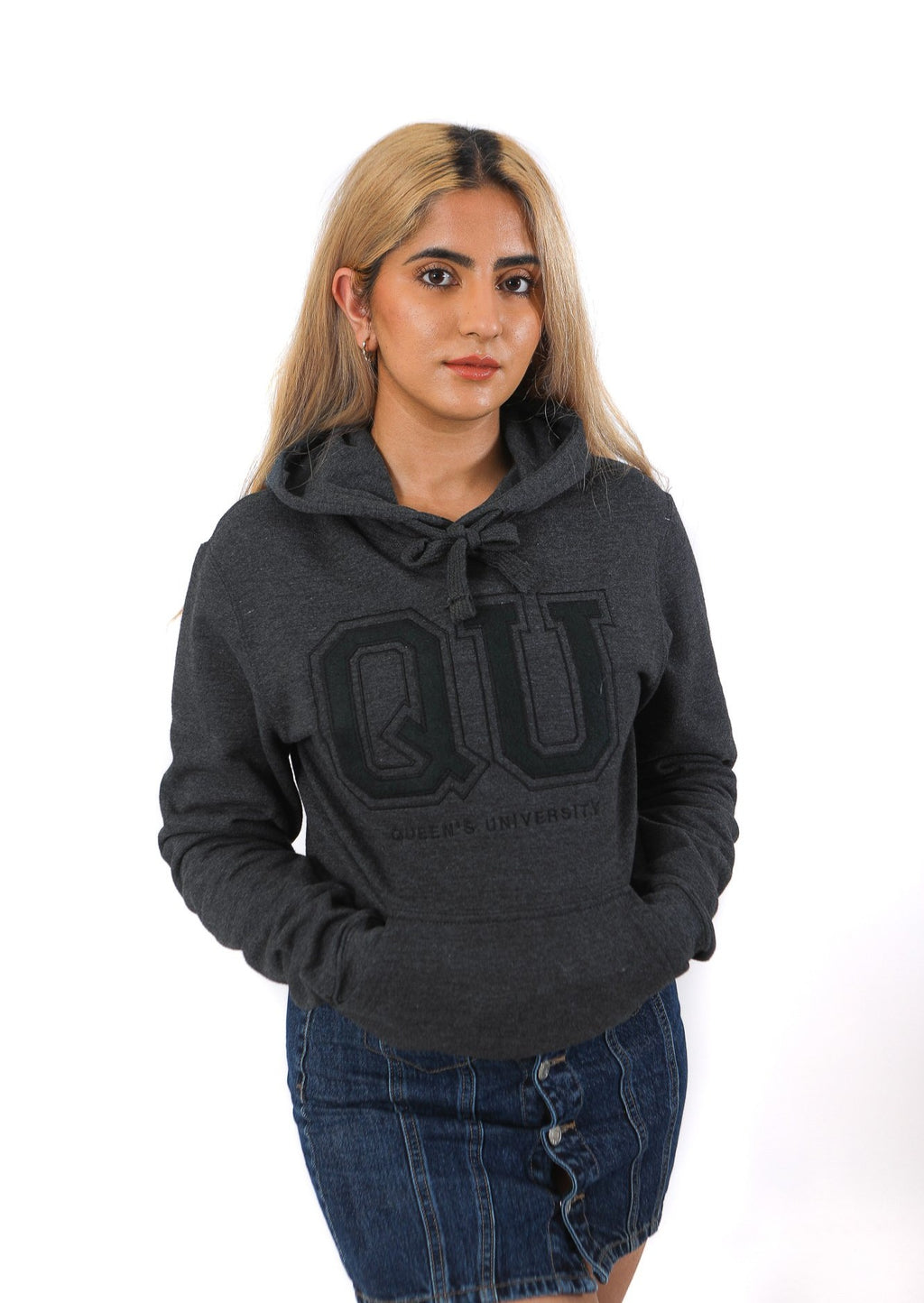 Grey hoodie with charcoal QU