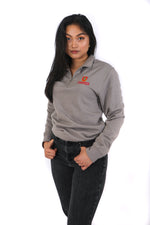 Grey quarter-zip with red Queen's crest