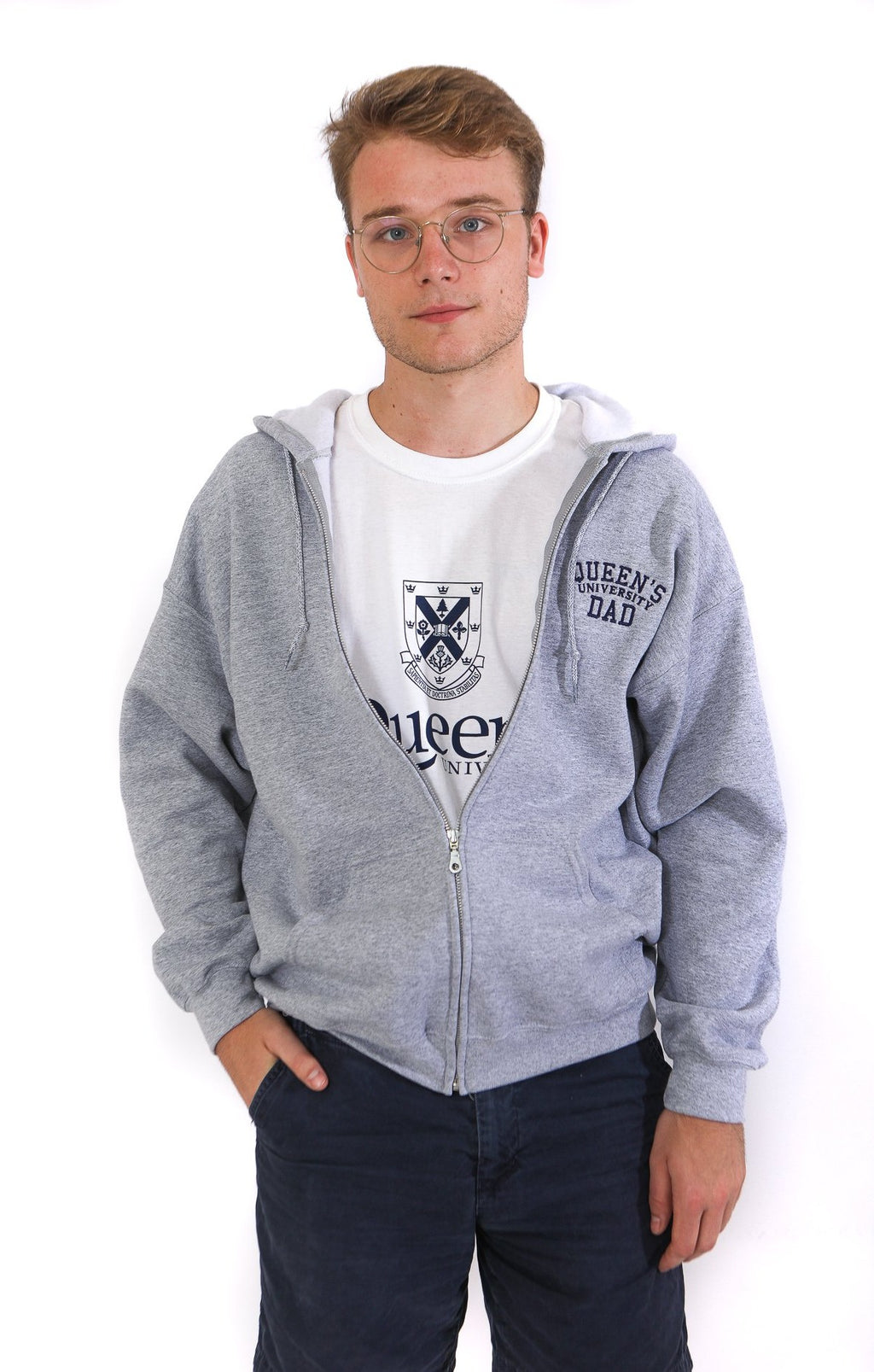 Grey zip up hoodie with Queen's Dad embroidered on the chest