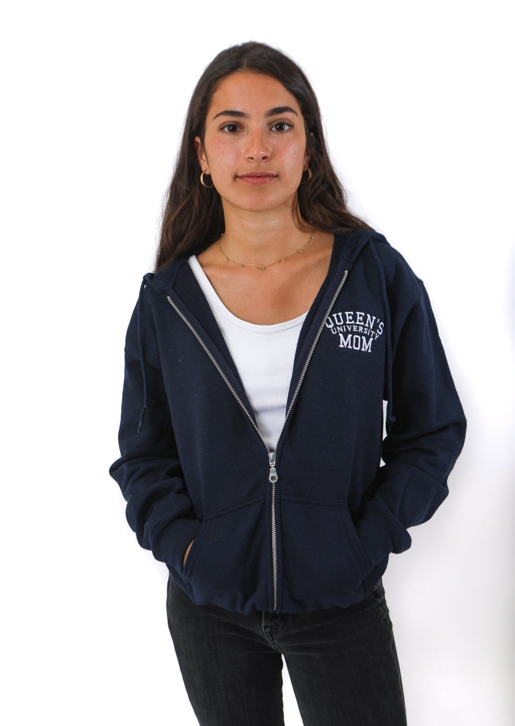 Front view of blue zip up hooded sweater with white Queen's mom logo on chest