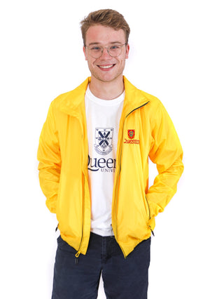 Front of yellow zip up rain jacket with red Queen's crest logo