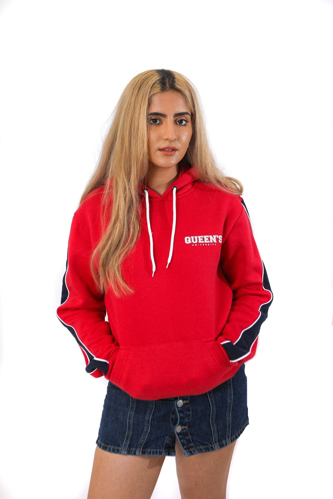 Red hoodie with blue arm stripes and a white queen's logo