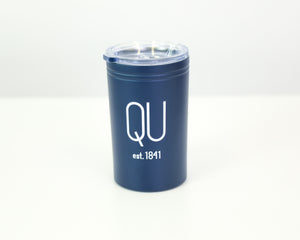 Blue tumbler with a white QU on the front that also serves as a can coolie