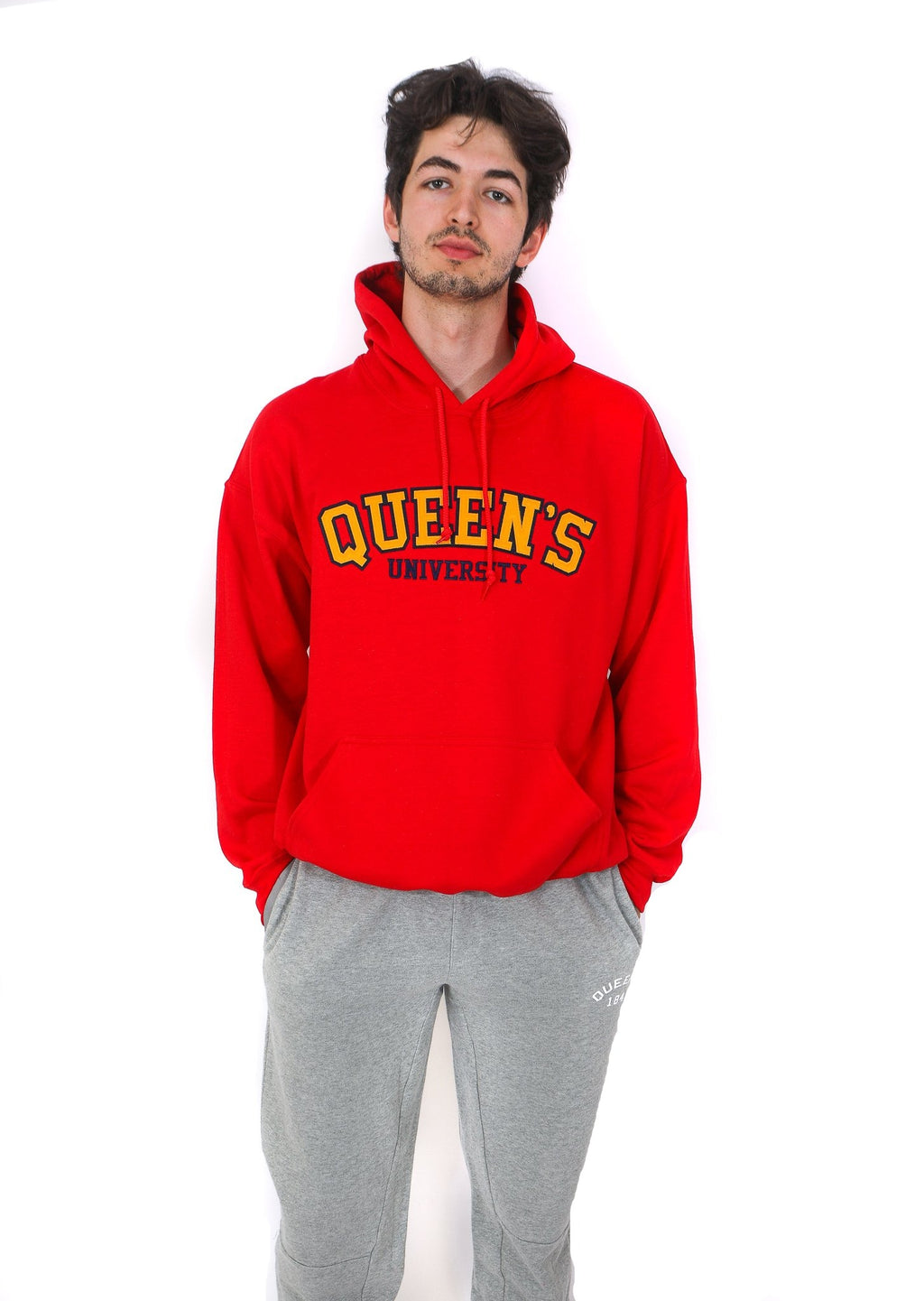 Front view of red hoodie with yellow Queen's logo