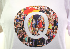close up of white t-shirt with photograph of homecoming in the shape of a Q