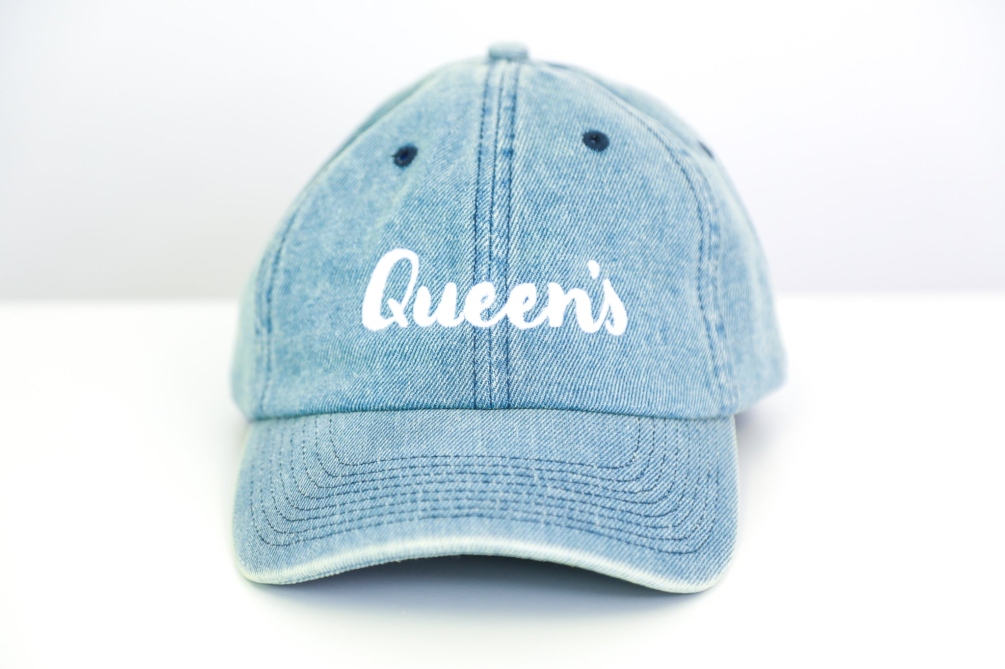 Denim Hat with cursive queen's