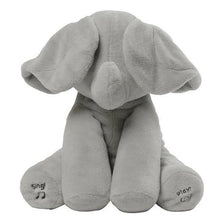 Load image into Gallery viewer, Baby Peek A Boo Animated Singing Elephant Flappy Plush Toy