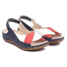 Load image into Gallery viewer, Peep Toe Women Flat Heel Magic Tape Summer Sandals