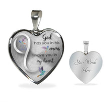 Load image into Gallery viewer, Hummingbird Heart God Has You In His Arms Luxury Necklace