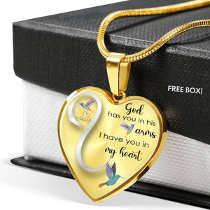 Hummingbird Heart God Has You In His Arms Luxury Necklace