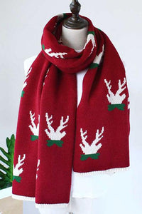 Chicyaya Merry Christmas Print Knit Scarf (3 Colors)