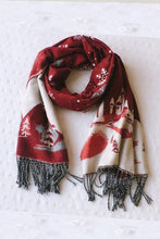 Load image into Gallery viewer, Snowflake Red And Green Imitation Cashmere Scarf