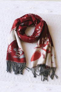 Snowflake Red And Green Imitation Cashmere Scarf