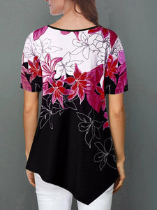 Floral Print Irregular Hem Short Sleeve T-shirt