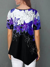 Load image into Gallery viewer, Floral Print Irregular Hem Short Sleeve T-shirt