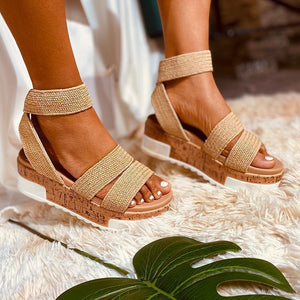 2020 NEW Double Strpes Bohemian Sewing Plafrorm Sandals