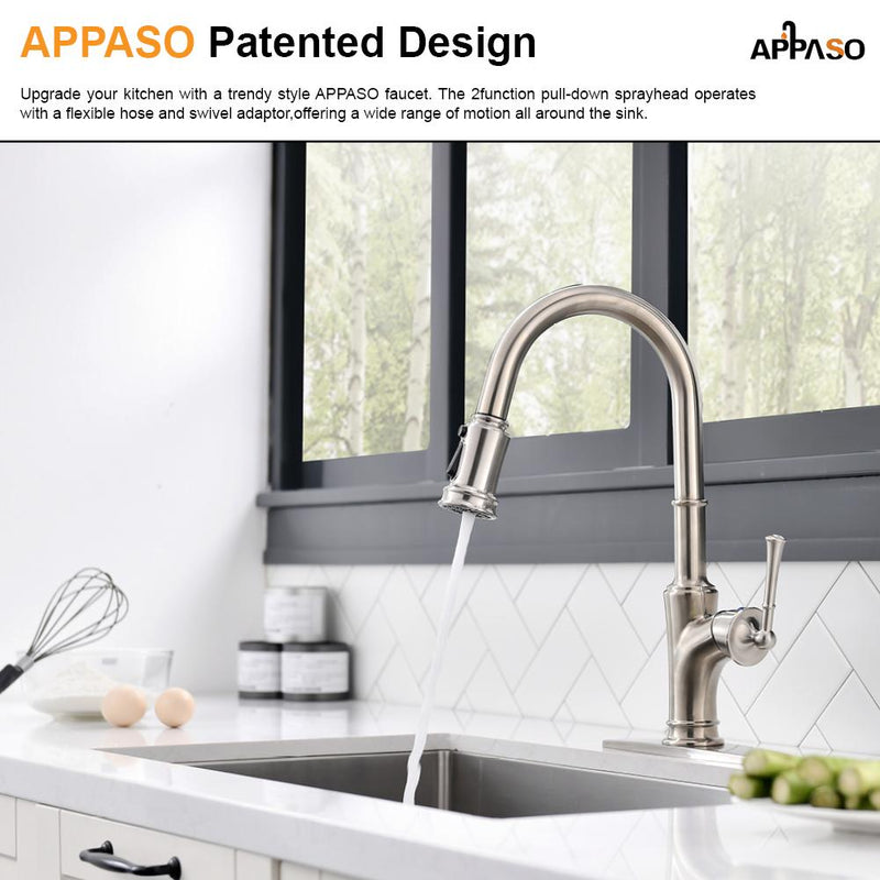 APPASO 192BN Kitchen Faucet Brushed Nickel with 3-Mode Magnetic Docking Sprayer and Brush