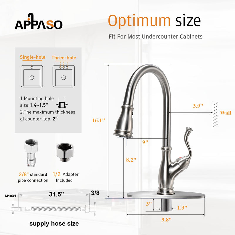 APPASO 225BN Single Handle Pull Down Kitchen Faucet Brushed Nickel Antique Magnetic Docking High Arc