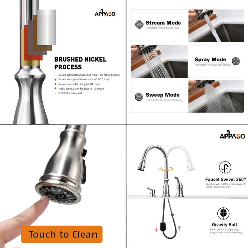 APPASO 229BN 3 Hole Pull Down Kitchen Faucet Brushed Nickel Magnetic Docking with Soap Dispenser